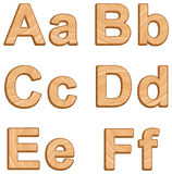 Vector alphabet with texture of wood Royalty Free Stock Image