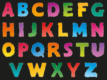 Vector alphabet from torn scraps of colored paper Stock Photography