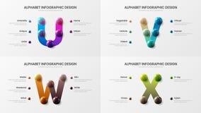 Vector alphabet U, V, W, X symbols infographic 3D realistic colorful balls presentation design illustration bundle. Vector alphabet infographic 3D realistic stock illustration