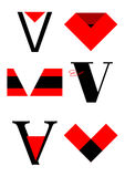 Vector alphabet V logos and icons. In red and black Royalty Free Stock Photography