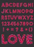 Vector alphabet of various shapes of hearts.