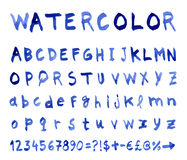 Vector alphabet with watercolor font Royalty Free Stock Photos
