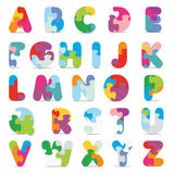 Vector alphabet written with puzzle. Alphabet written with puzzle -  illustration Royalty Free Stock Image