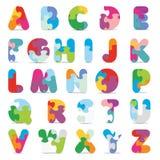 Vector alphabet written with puzzle. Alphabet written with puzzle - illustration vector illustration