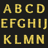 Vector alphabet with yellow diamonds letters. Luxury brilliant design with golden bright and diamond crystals. Royalty Free Stock Photography