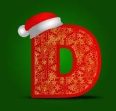 Vector Alphabetbuchstaben D mit Weihnachtshut- und -goldschneeflocken Lizenzfreie Stockfotos