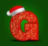 Vector Alphabetbuchstaben G mit Weihnachtshut- und -goldschneeflocken Stockfotos