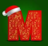 Vector Alphabetbuchstaben W mit Weihnachtshut- und -goldschneeflocken Lizenzfreie Stockfotos