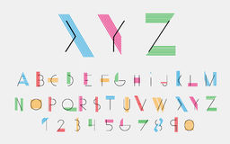 Vector alphabetic fonts. Black alphabetic fonts and numbers with color lines. Vector eps10 illustrator stock illustration