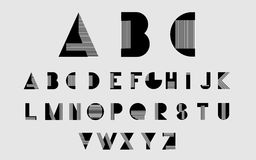 Vector alphabetic fonts. Black alphabetic fonts with white lines. Vector eps10 illustrator royalty free illustration