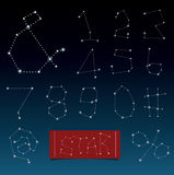 Vector of alphabets in constellations and star shape. Stock Photo