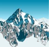 Vector alpien die landschap met pieken door sneeuw worden behandeld stock illustratie