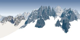 Vector alpine landscape with peaks covered by snow. Illustration Royalty Free Stock Images
