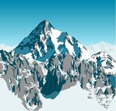 Vector alpine landscape with peaks covered by snow. Illustration Stock Images