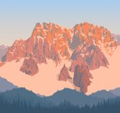 Vector alps mountains background with blue forest Stock Photos