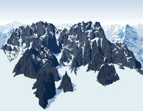 Vector alps mountains background with blue range Stock Photos