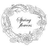 Vector alrededor de marco con el clavel o el clavo del esquema Flor, brote y hojas en negro aislados en el fondo blanco Flores ad Imagen de archivo libre de regalías