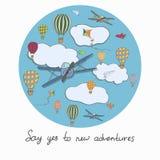 Vector alrededor de plantilla con los baloons del aire caliente, aviones que vuelan en stock de ilustración