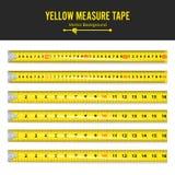 Vector amarillo de la cinta de la medida Equipo de la herramienta de la medida en pulgadas Varias variantes, proporcional escalad Fotos de archivo libres de regalías
