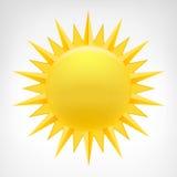 Vector amarillo del clip art del sol aislado Imagenes de archivo