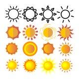 Vector amarillo del sistema del icono de Sun Muestra de la puesta del sol Luz de la salida del sol Calor del verano Ray anaranjad stock de ilustración