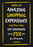 Vector Amazing Shopping Experience Up To 75 percent off banner Stock Image