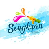 Vector amazing songkran festival with water gun. Of Thailand on water background, illustration Stock Photo