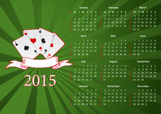 Vector American calendar 2015 with cards. Vector American calendar 2015 starting from Sundays with cards over green background royalty free illustration