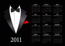Vector American calendar with elegant suit. Starting from Sundays Royalty Free Stock Photo