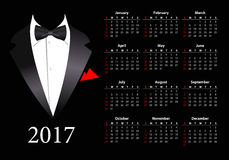 Vector American calendar 2017 with elegant suit Stock Photos