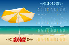 Vector American calendar 2015 with tropic beach. Starting from Sundays Stock Illustration