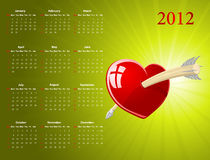 Vector American calendar for Valentines Day. Vector American calendar with glossy heart for Valentines Day, starting from Sundays Stock Image