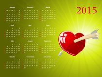 Vector American calendar for Valentines Day. Vector American calendar 2015 with glossy heart for Valentines Day, starting from Sundays Stock Image