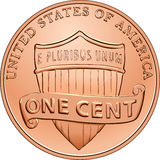 Vector American coin one cent, penny. American money, one cent coin with the image of a shield Royalty Free Stock Photo