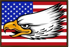 Vector illustation American eagle against USA flag and white background. royalty free illustration