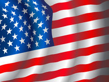 Vector American flag. Waving in the wind Stock Image