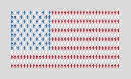 Vector american flag with many man figurines texture Royalty Free Stock Images