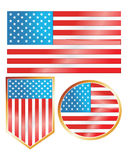 Vector American Flag Set Royalty Free Stock Photography