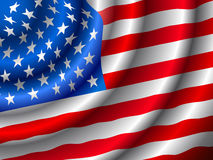 VECTOR American flag waving in the wind. (Only gradient used, easy to edit Stock Photo