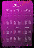 Vector American floral pink grungy calendar 2015. Vector American floral pink and black grungy calendar 2015, starting from Sundays Stock Image