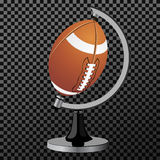 Vector american football. American football globe isolated over transparent background. Vector illustration. Vector american football. American football globe Stock Photography