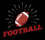 Vector american football sport ball logo icon sun burtst print hand drawn vintage line art. Design royalty free illustration