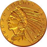 Vector American gold coin dollar Stock Photo