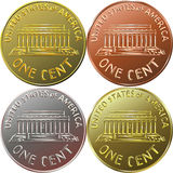 Vector American money gold coin one cent, penny Royalty Free Stock Photos