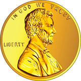 Vector American money gold coin one cent, penny Stock Photography