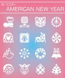 Vector American New Yers icon set. On rose background Vector Illustration