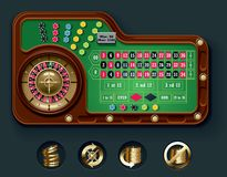 Vector American roulette table layout. Detailed American roulette casino table with icons royalty free illustration