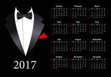 Vector Amerikaanse kalender 2017 met elegant kostuum Stock Foto's