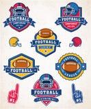 Vector Amerikaanse voetbalembleem en insignes Stock Afbeelding