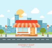 Vector amistoso minúsculo plano del concepto del web de la ciudad de la pequeña empresa de la tienda